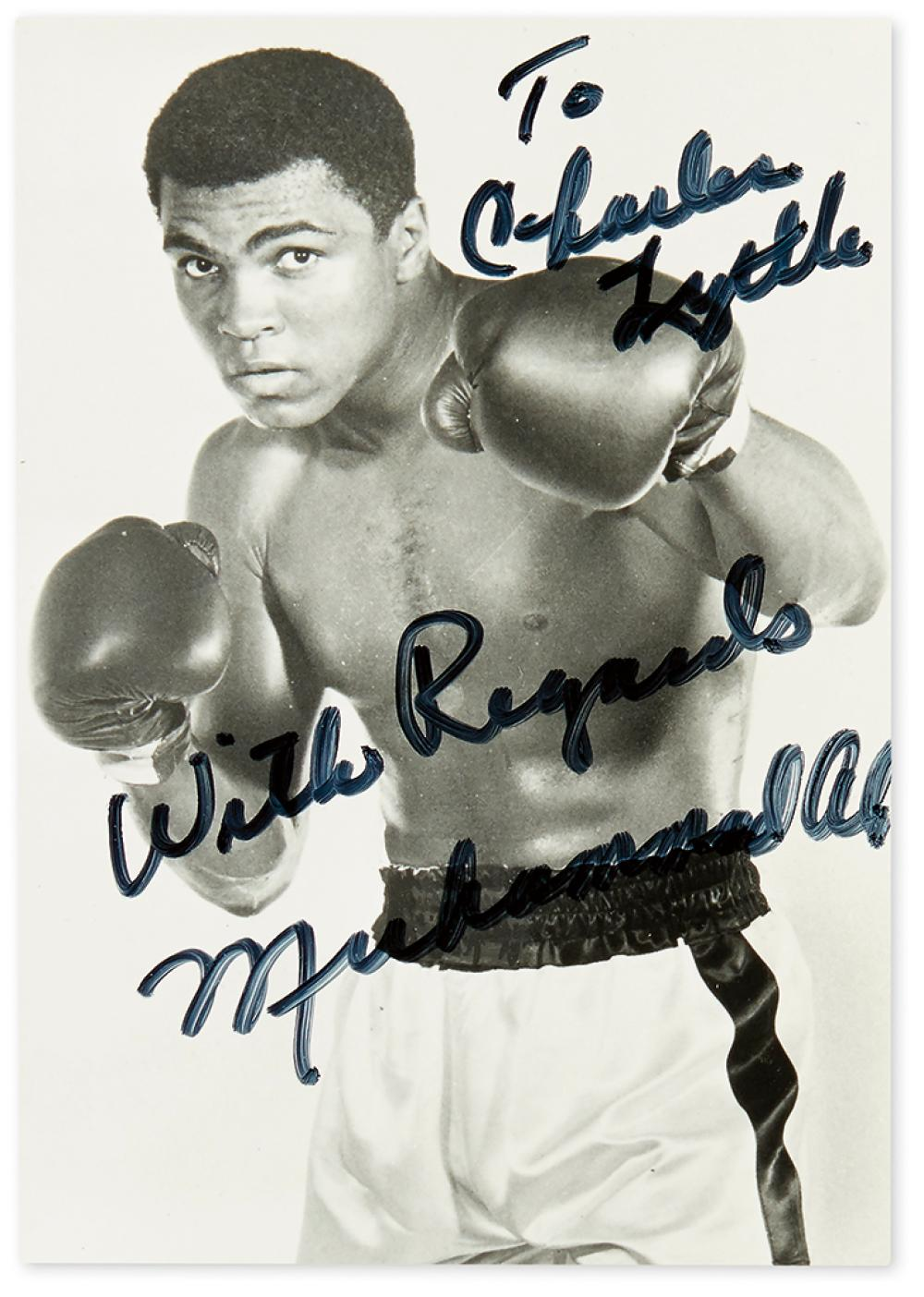 ALI, MUHAMMAD. Two items, each to Charles H. Lyttle: Photograph Signed and Inscribed * Typed Letter Signed.