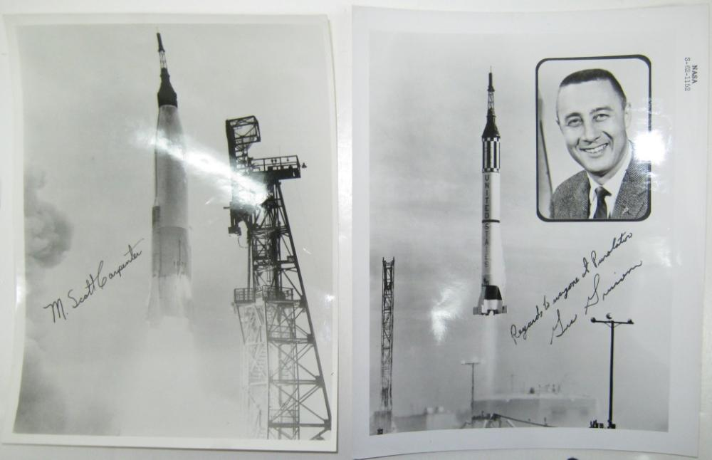 (ASTRONAUTS--MERCURY.) GRISSOM, VIRGIL I.; AND M. SCOTT CARPENTER. Two Photographs Signed, each by one, each an original NASA publicity