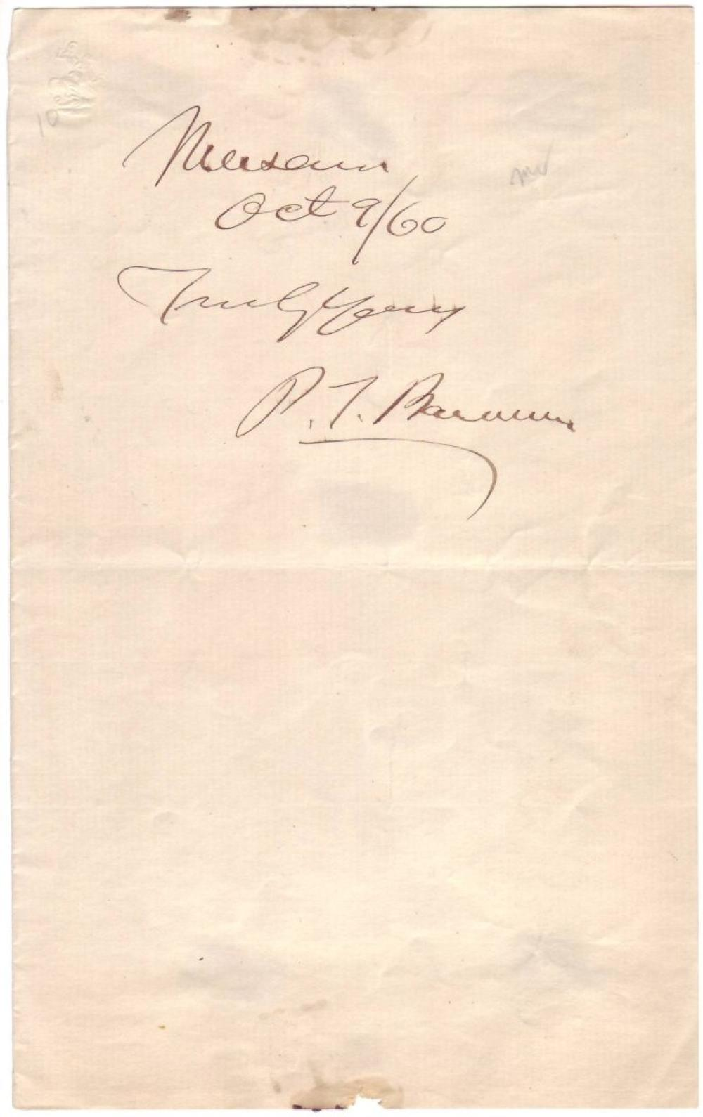 BARNUM, PHINEAS TAYLOR. Signature and date, on a slip of paper:
