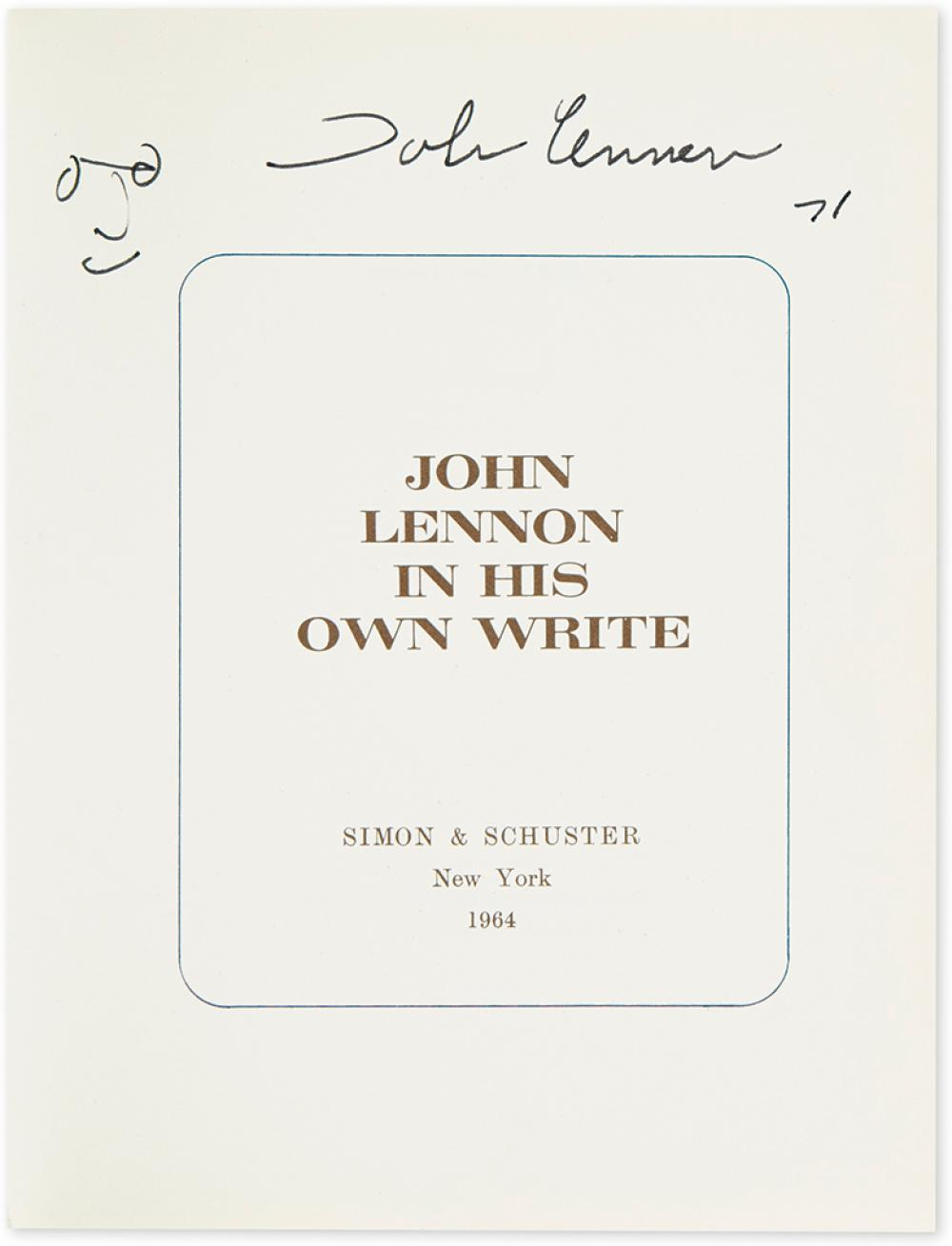 (BEATLES, THE.) LENNON, JOHN. Two books, each dated and Signed,