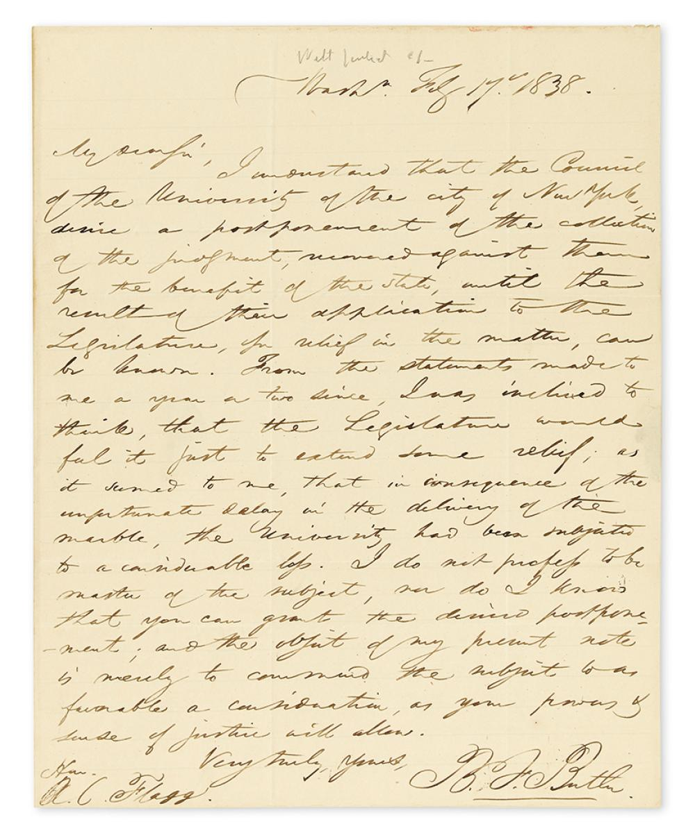 BUTLER, BENJAMIN FRANKLIN. Autograph Letter Signed,