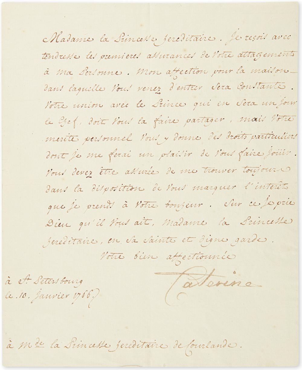 CATHERINE II; EMPRESS OF RUSSIA. Letter Signed,