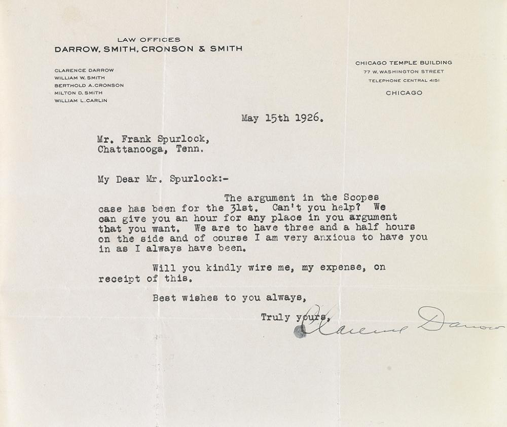 DARROW, CLARENCE. Typed Letter Signed, to attorney Frank Spurlock, inviting him to join his defense team.