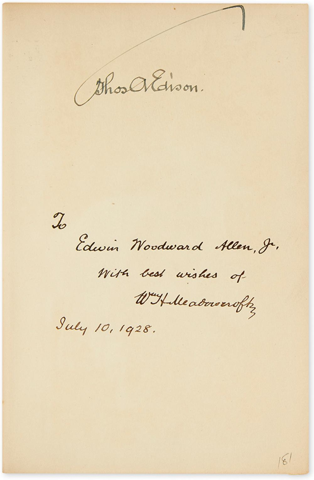 EDISON, THOMAS A. William H. Meadowcroft. The Boy's Life of Edison. Signed on the front free endpaper,