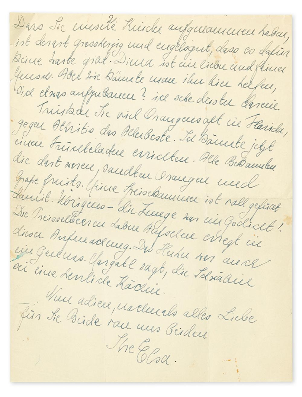 EINSTEIN, ELSA. Archive of 9 letters, each Signed,
