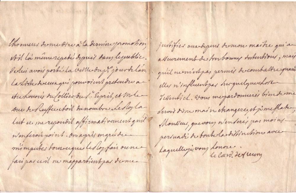 FLEURY, ANDRÉ HERCULE DE; CARDINAL. Letter Signed,