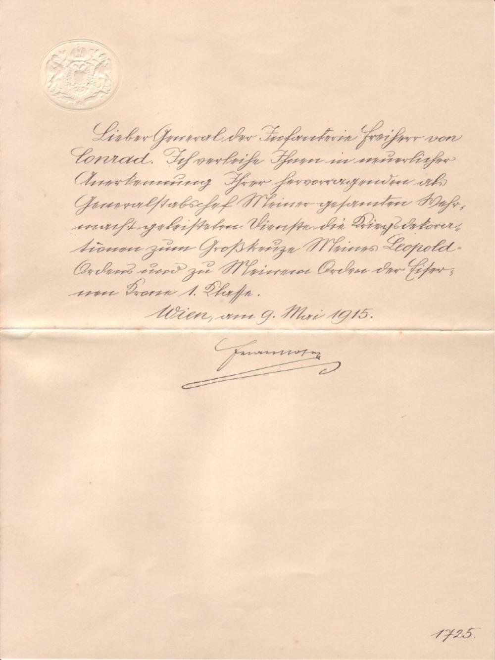 FRANZ JOSEPH I; EMPEROR OF AUSTRIA. Letter Signed, to Count Franz Conrad von Hötzendorf, in German,