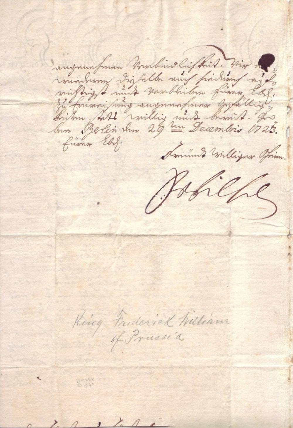 FRIEDRICH WILHELM I. Letter Signed,