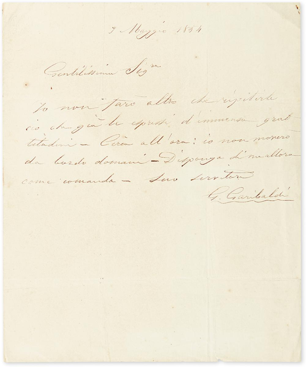 GARIBALDI, GIUSEPPE. Autograph Letter Signed,