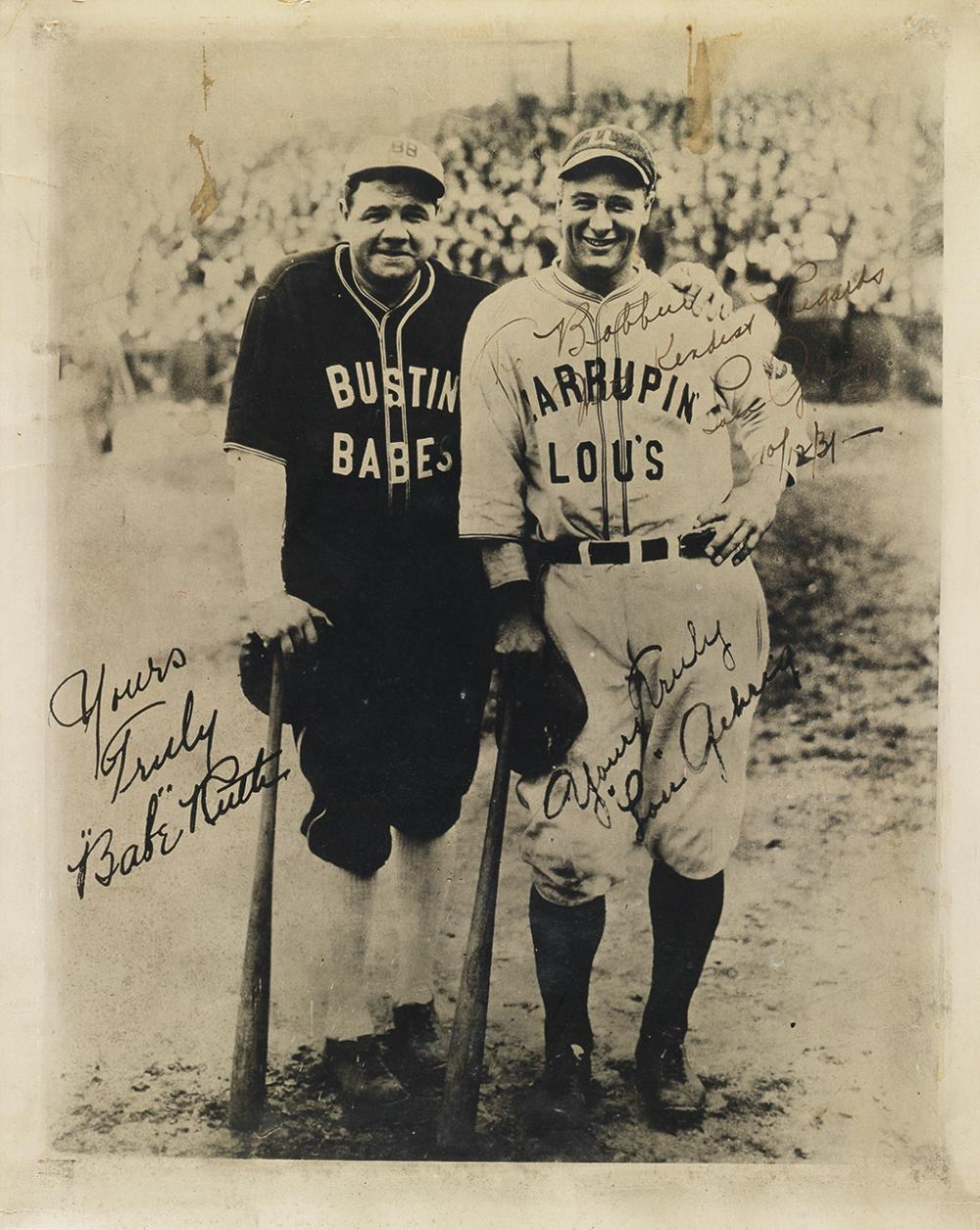 GEHRIG, LOU. Photograph Signed and Inscribed,