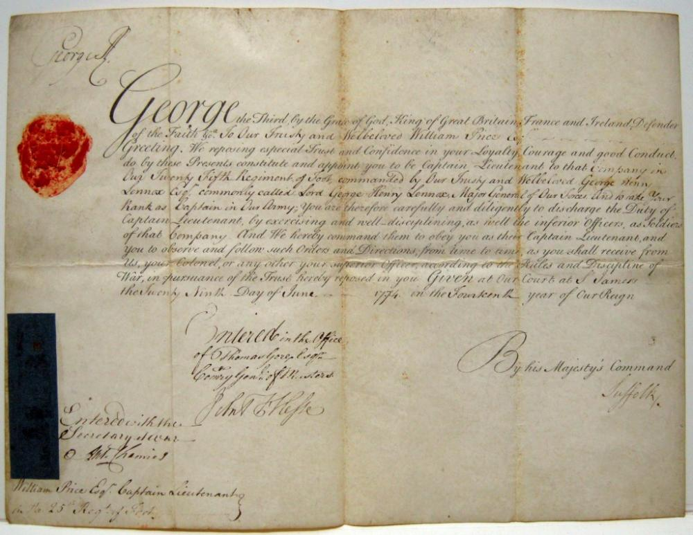GEORGE III; KING OF ENGLAND. Partly-printed vellum Document Signed,