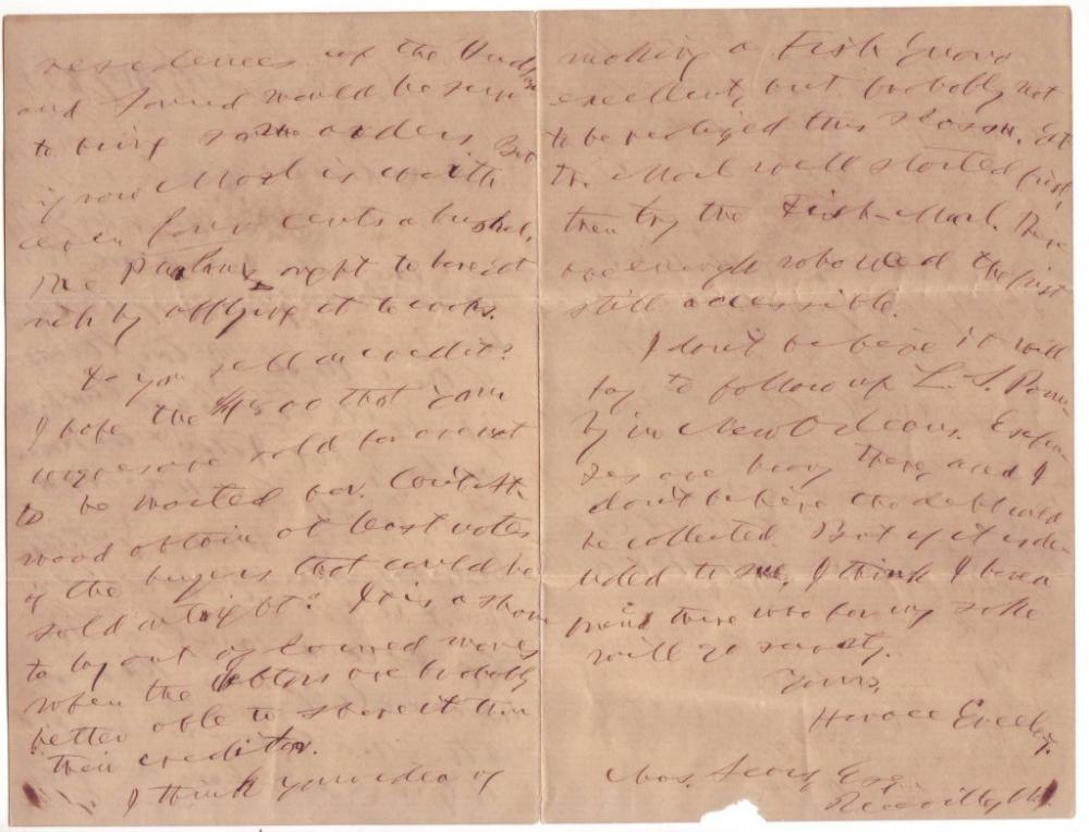 GREELEY, HORACE. Autograph Letter Signed, to Charles Sears,