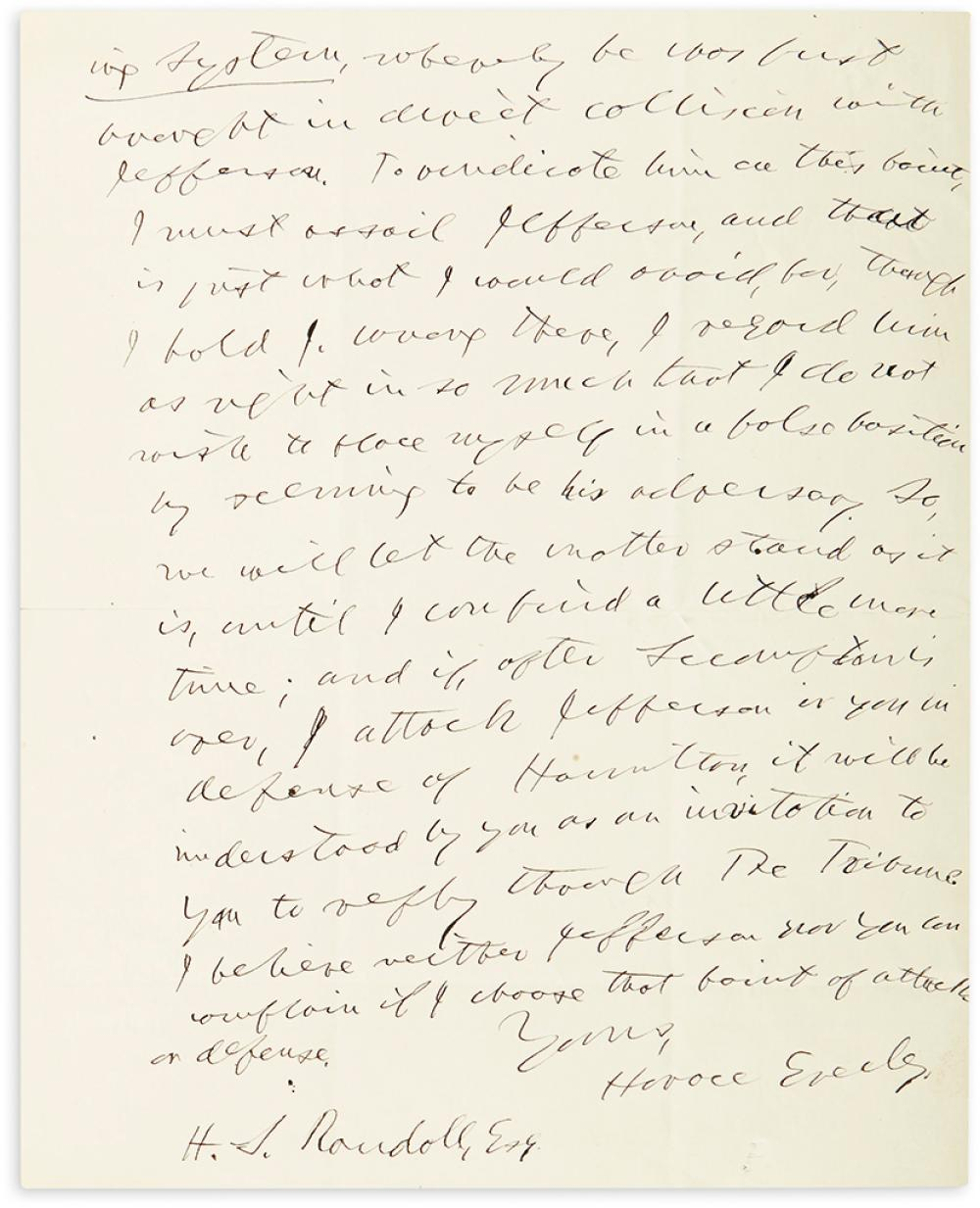 GREELEY, HORACE. Autograph Letter Signed, to H.S. Randol,