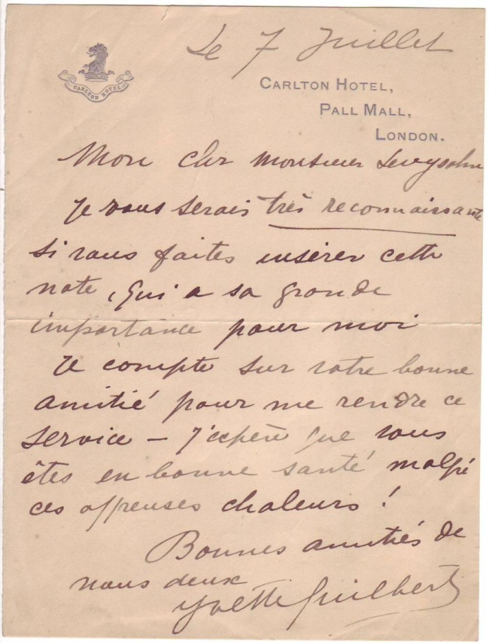 GUILBERT, YVETTE. Autograph Letter Signed, to