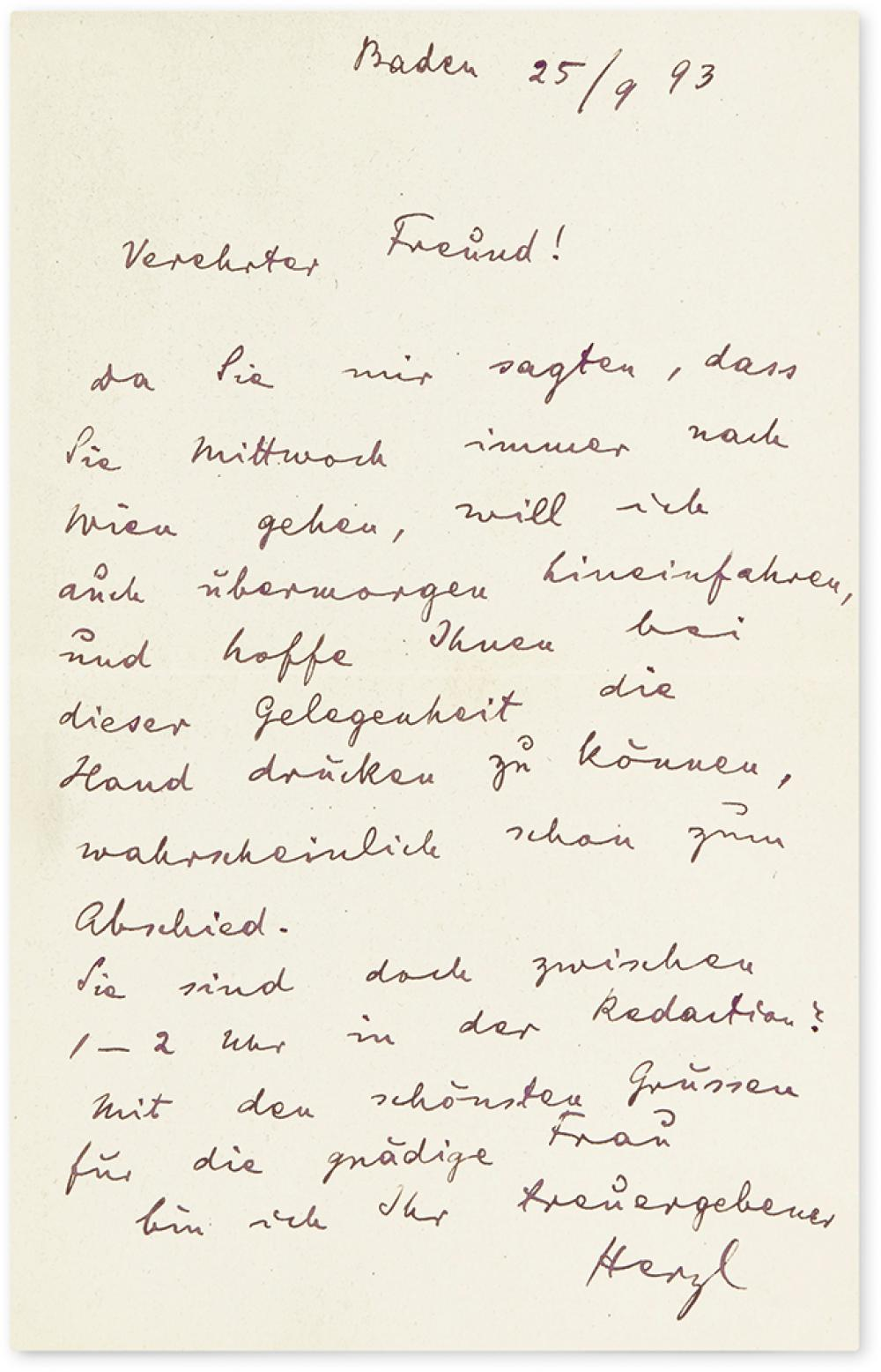 HERZL, THEODOR. Autograph Letter Signed,