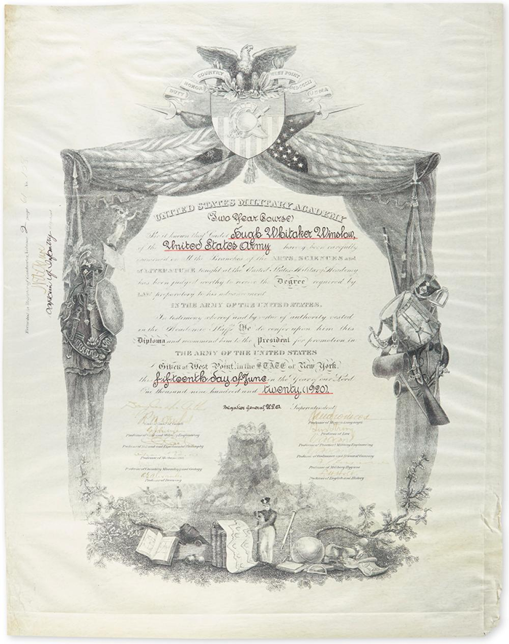 MACARTHUR, DOUGLAS. Partly-printed vellum Document Signed, as Superintendant of West Point, graduation diploma for Hugh Whitaker Winslo