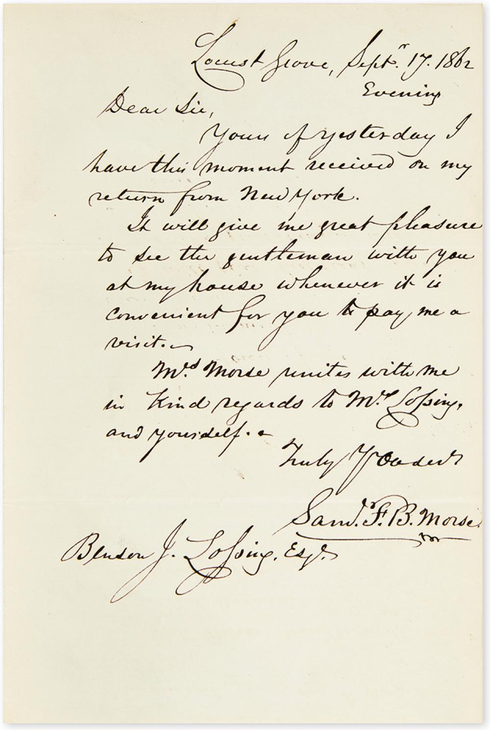 MORSE, SAMUEL F.B. Autograph Letter Signed,