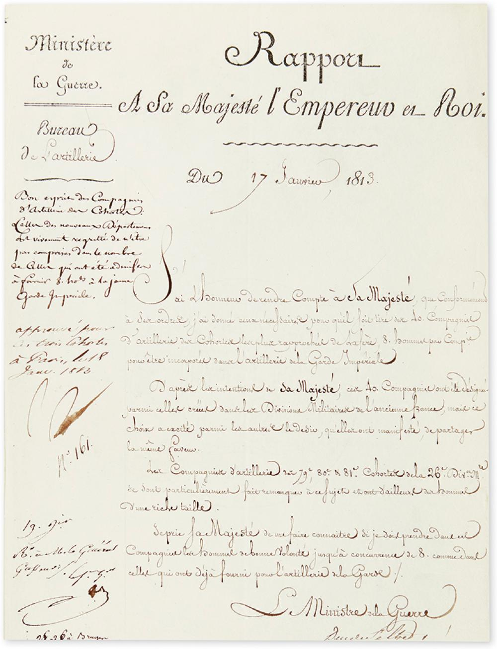 NAPOLÉON. Endorsement Signed,