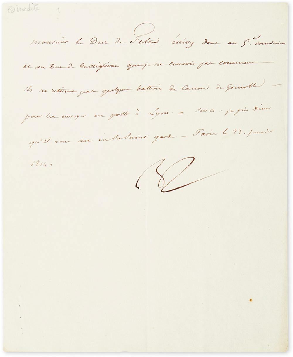 NAPOLÉON. Letter Signed,