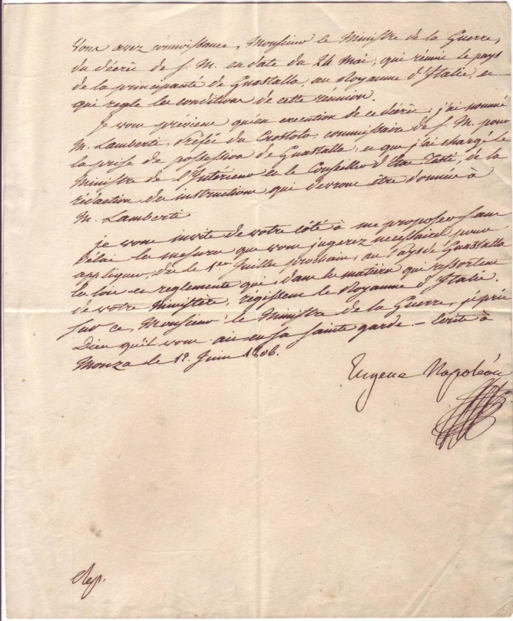 (NAPOLÉON.) BEAUHARNAIS, EUGÈNE DE. Letter Signed,