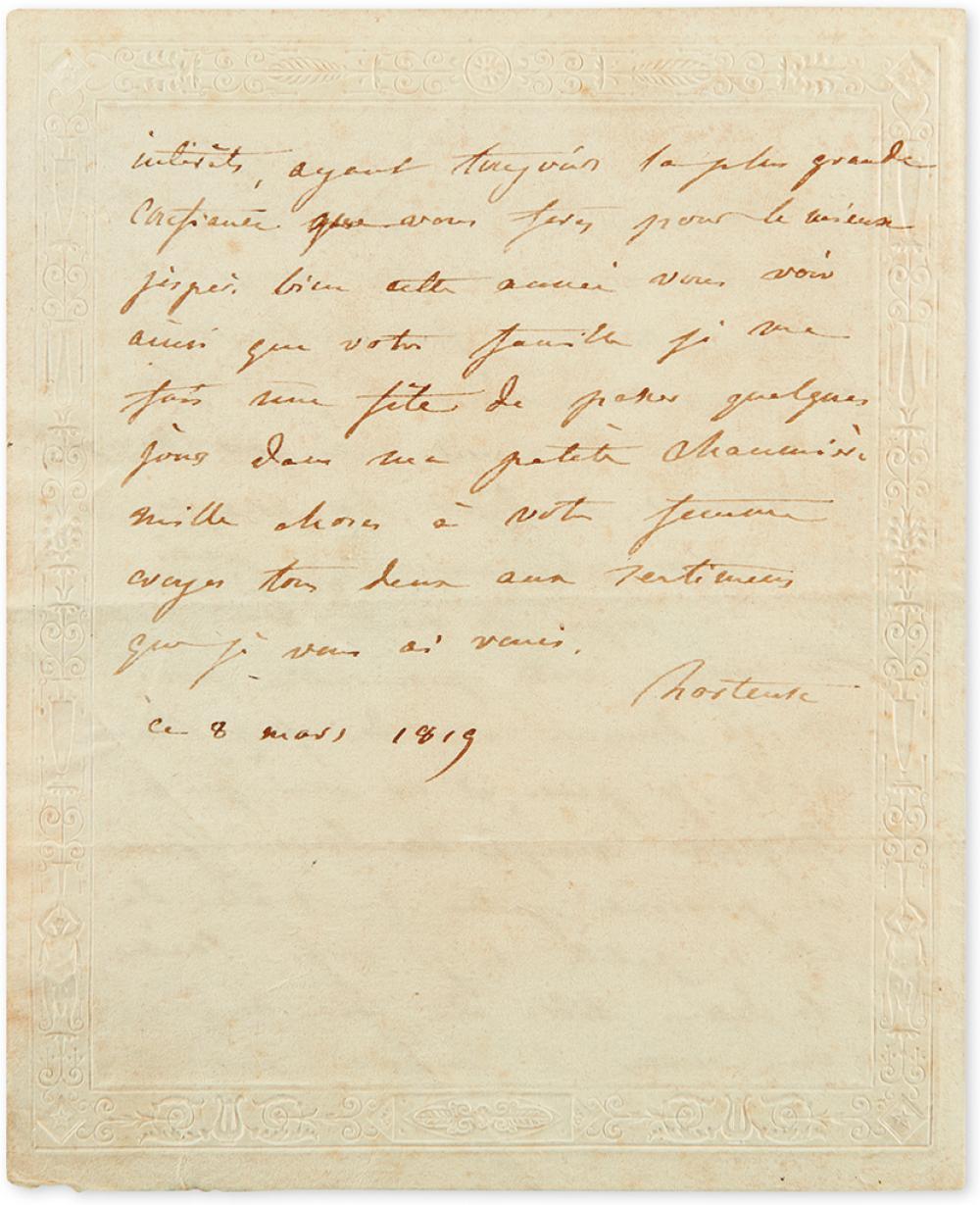 (NAPOLÉON.) BEAUHARNAIS, HORTENSE DE. Autograph Letter Signed,