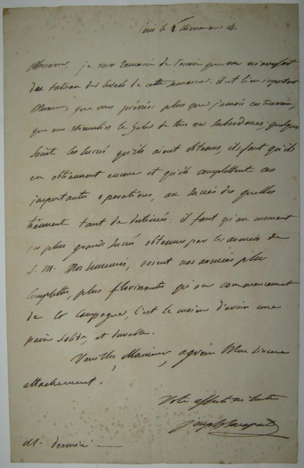 (NAPOLÉON.) BONAPARTE, JOSEPH. Autograph Letter Signed,