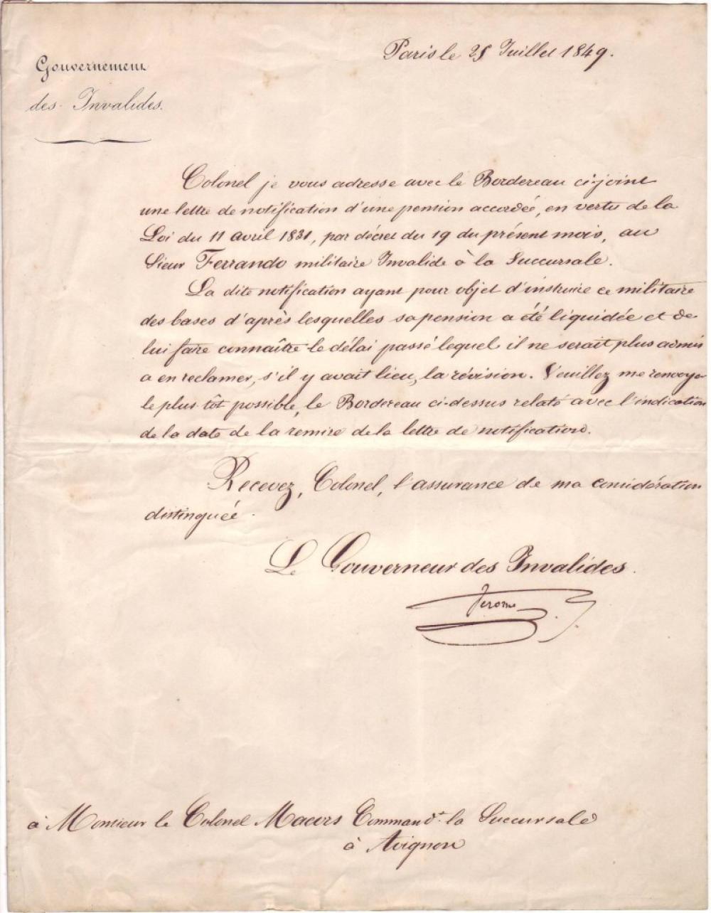 (NAPOLÉON.) BONAPARTE, JÉRÔME. Letter Signed,