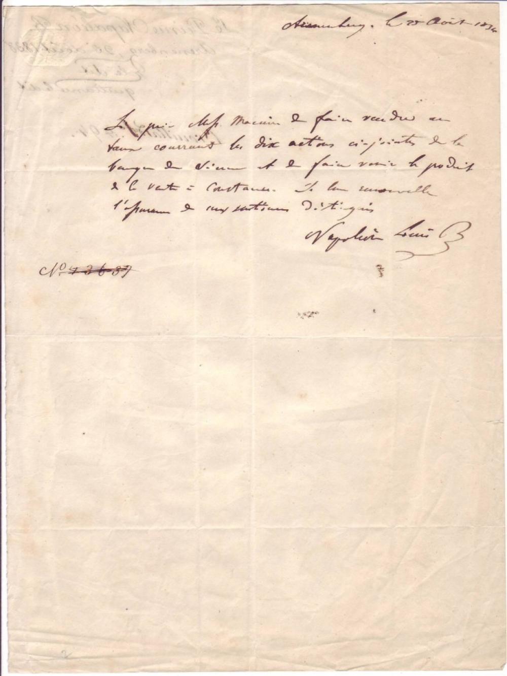 (NAPOLÉON.) NAPOLÉON III. Autograph Letter Signed,