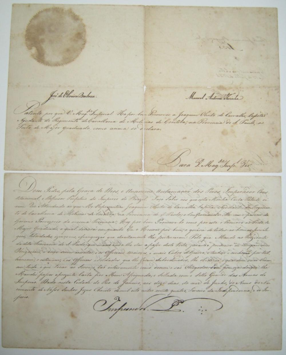 PEDRO I; EMPEROR OF BRAZIL. Document Signed,
