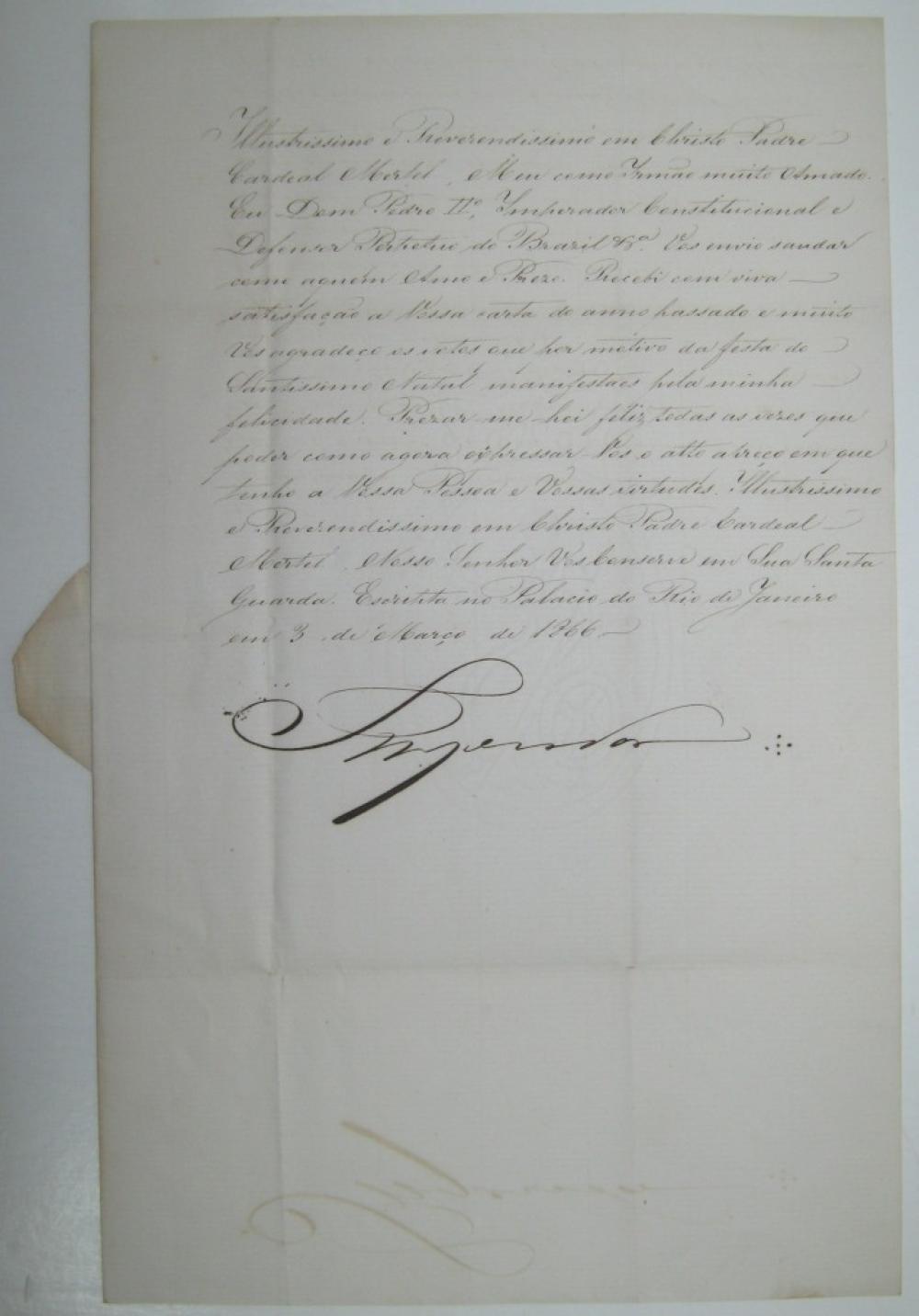 PEDRO II; EMPEROR OF BRAZIL. Letter Signed,