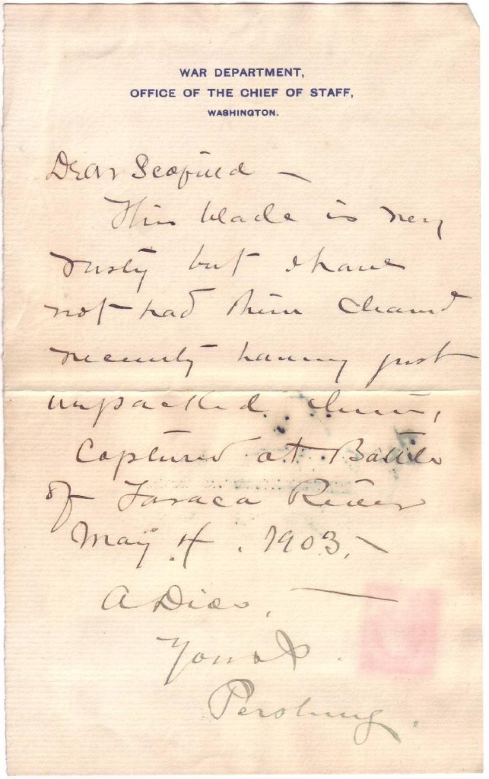 "PERSHING, JOHN J. Autograph Letter Signed, ""Pershing,"" to War Department Chief Clerk John C. Scofield (""Dear Scofield""),"
