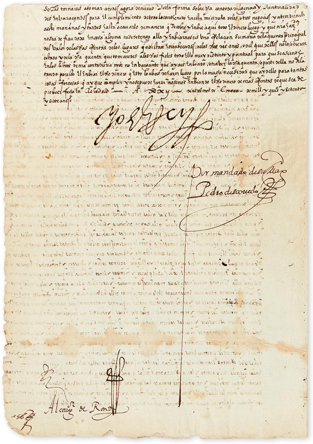 PHILIP II; KING OF SPAIN. Letter Signed,