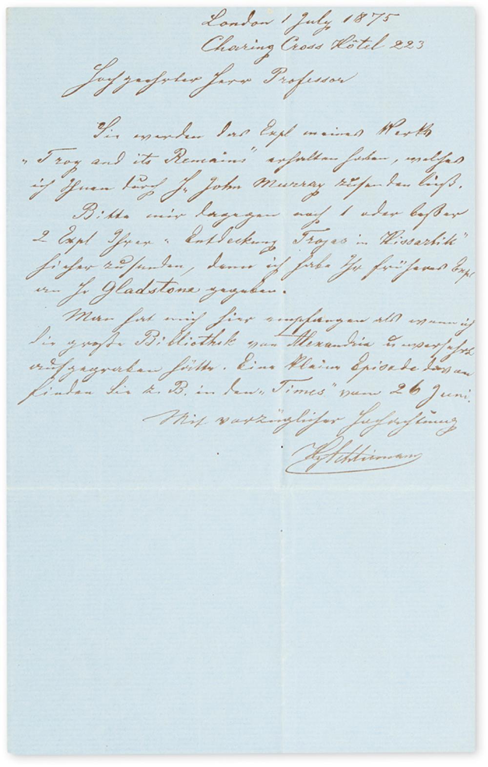 SCHLIEMANN, HEINRICH. Autograph Letter Signed,