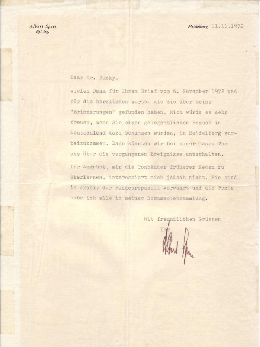 SPEER, ALBERT. Typed Letter Signed, in German, to former Berlin physician Peter A. Bucky (