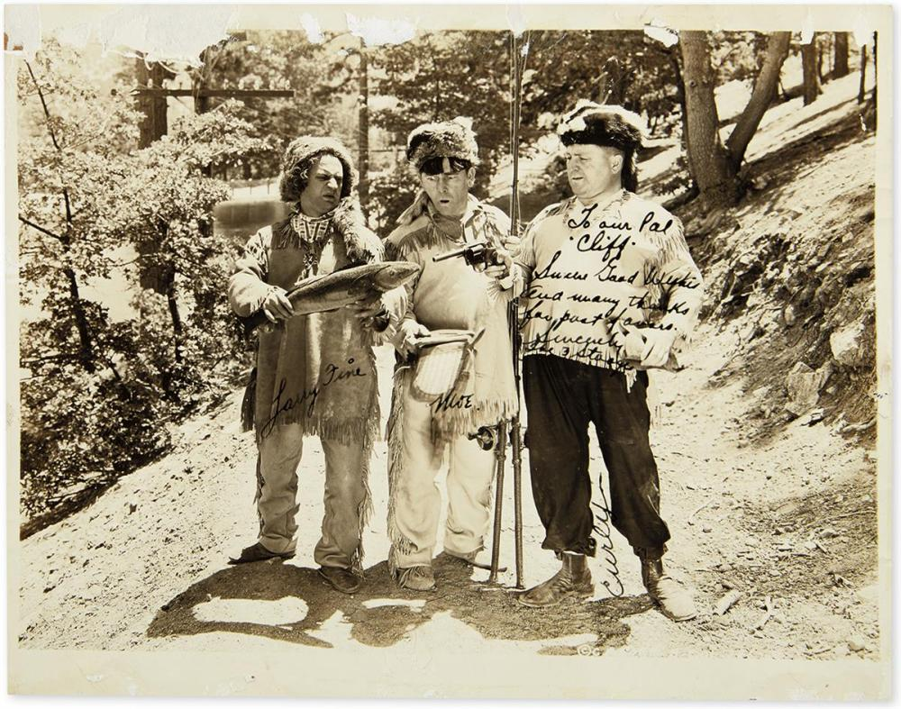 (THREE STOOGES, THE.) Photograph Signed, by each: Moe Howard (