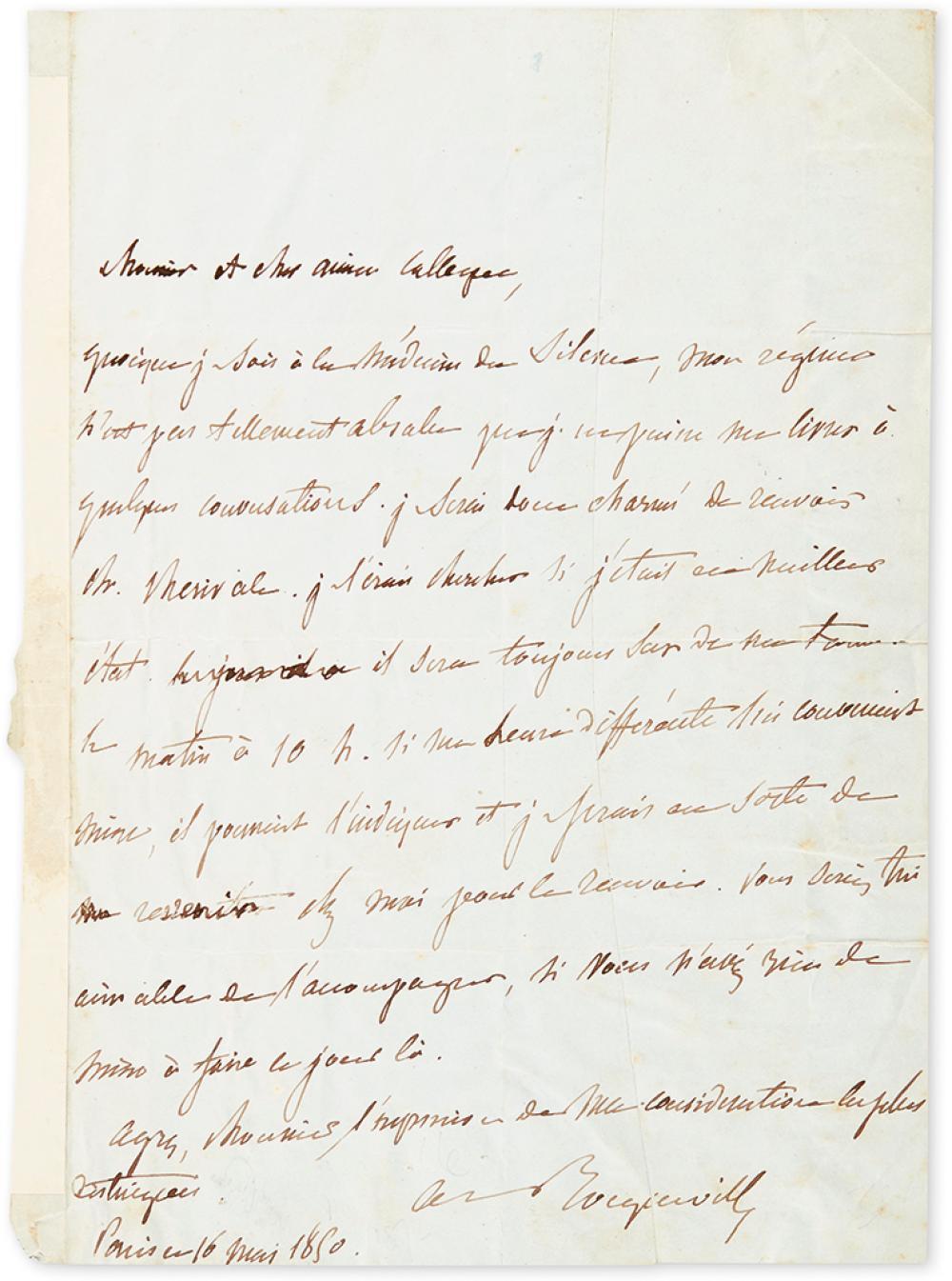 TOCQUEVILLE, ALEXIS DE. Autograph Letter Signed,