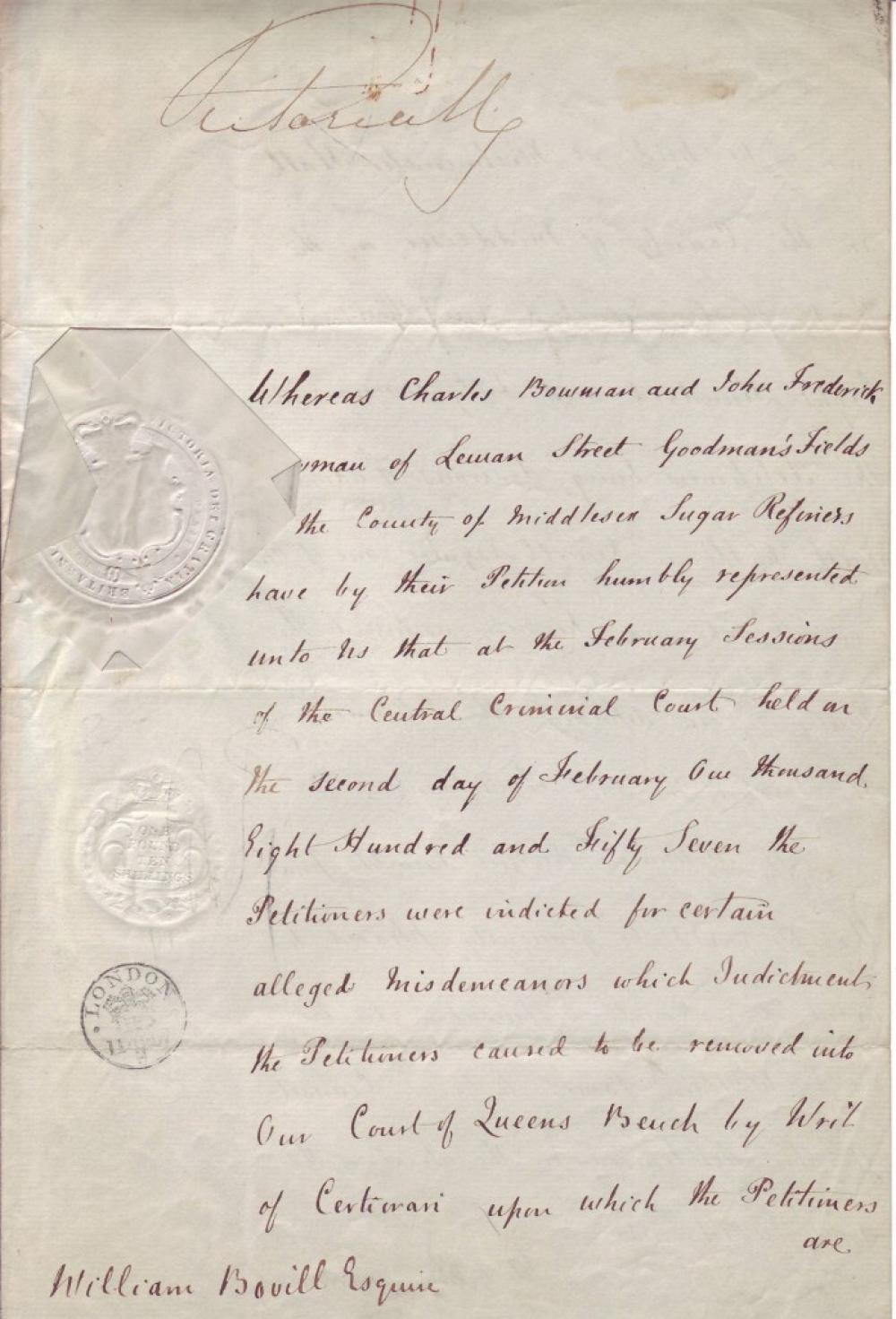 "VICTORIA; QUEEN OF ENGLAND. Document Signed, ""VictoriaReg,"""