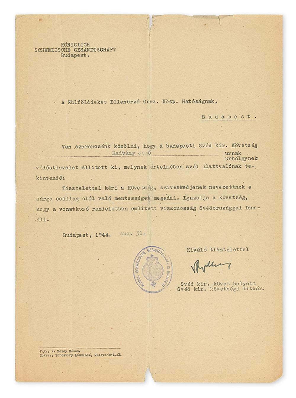 WALLENBERG, RAOUL. Partly-printed Letter Signed,