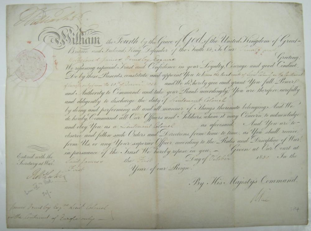 WILLIAM IV; KING OF ENGLAND. Partly-printed vellum Document Signed,