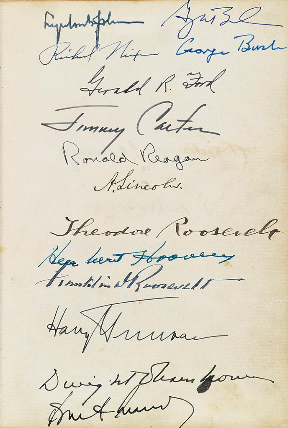 (PRESIDENTS--CIVIL WAR--ALBUM.) Album containing over 130 signatures of mostly Civil War political and military notables, including Abr