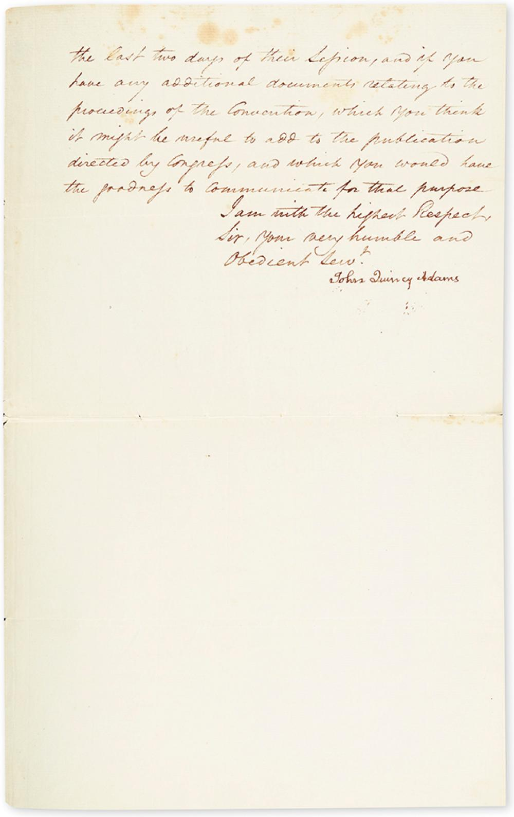 ADAMS, JOHN QUINCY. Letter Signed, as Secretary of State, to President James Madison, requesting documents to complete George Washingto