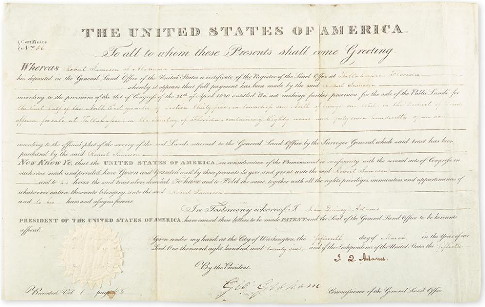 ADAMS, JOHN QUINCY. Partly-printed vellum Document Signed,