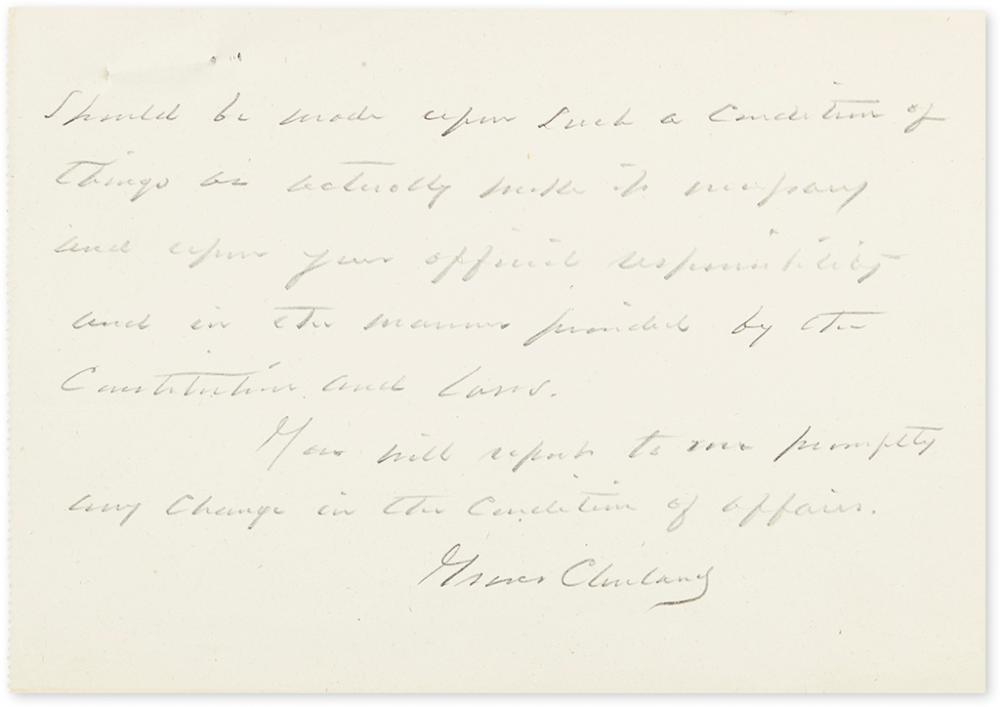 CLEVELAND, GROVER. Autograph Letter Signed, as President, to Governor of the Utah Territory Eli Houston Murray, in pencil,