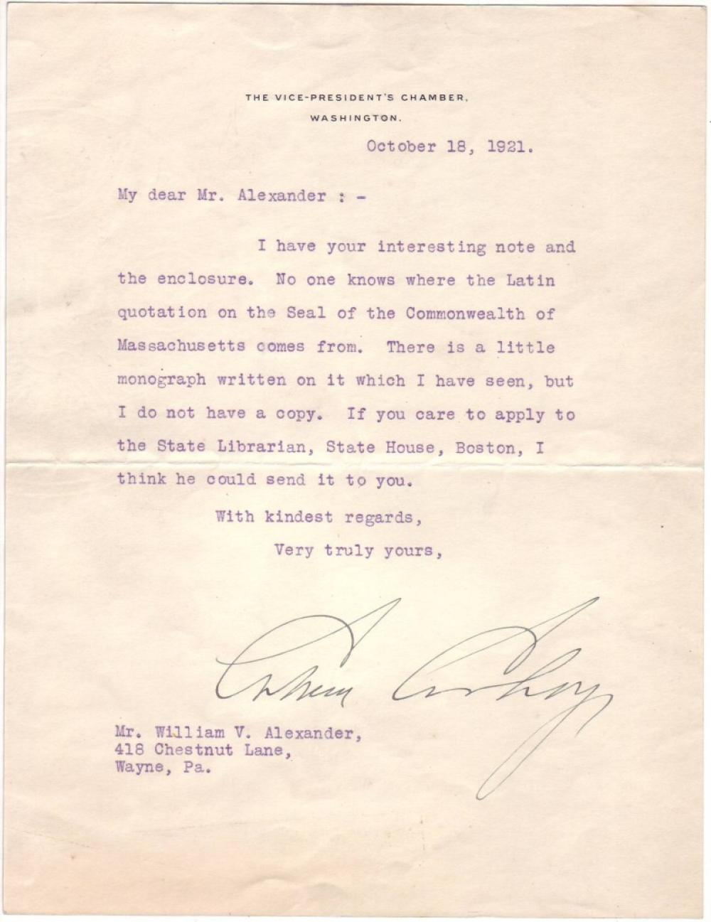 COOLIDGE, CALVIN. Typed Letter Signed, as Vice President, to William V. Alexander,