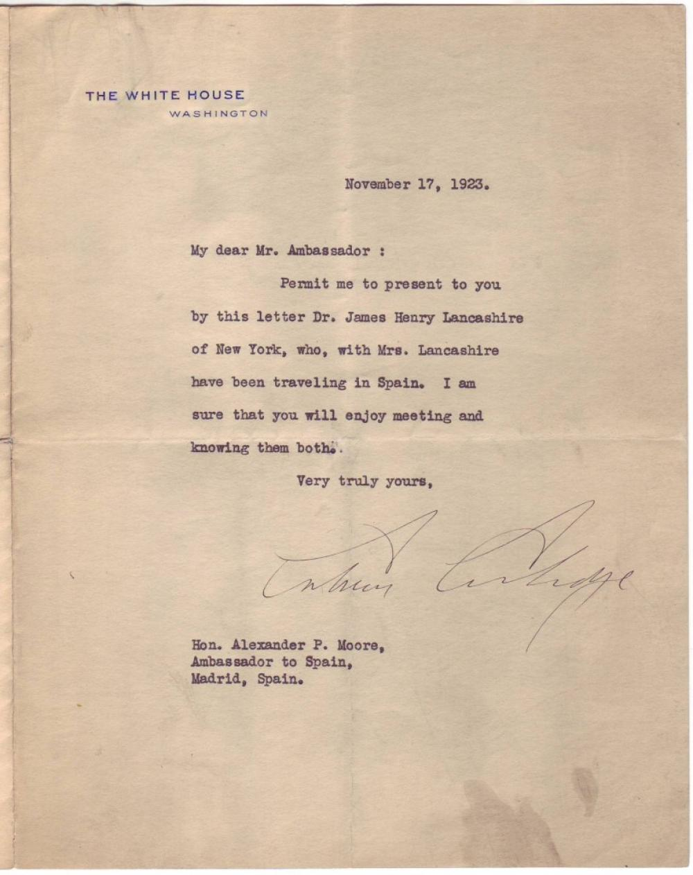 COOLIDGE, CALVIN. Typed Letter Signed, as President, to U.S. Ambassador to Spain Alexander Pollock Moore,