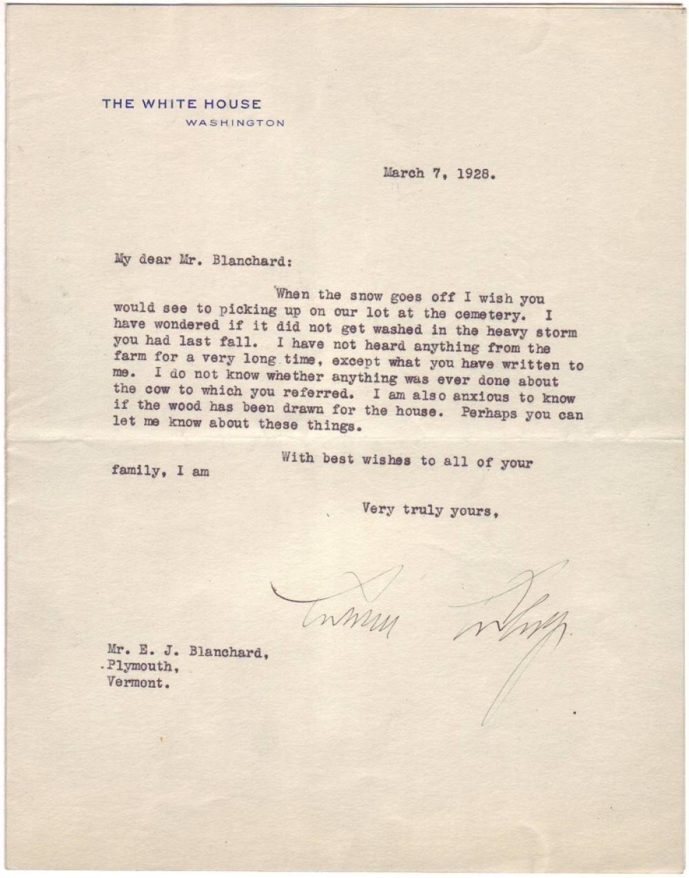 COOLIDGE, CALVIN. Typed Letter Signed, as President, to Edward J. Blanchard, the caretaker of his estate in Plymouth, VT,