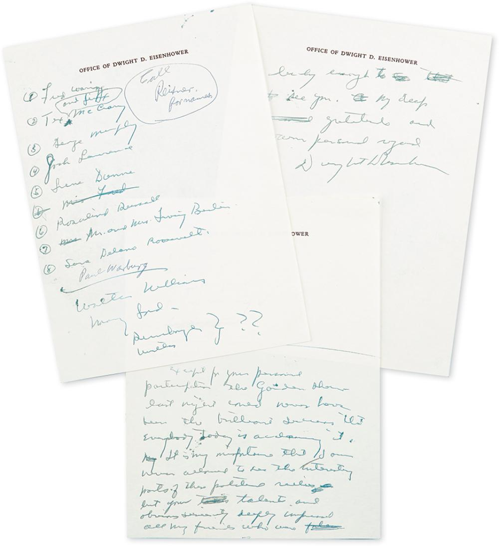 EISENHOWER, DWIGHT D. Autograph Letter Signed, to several celebrity supporters,