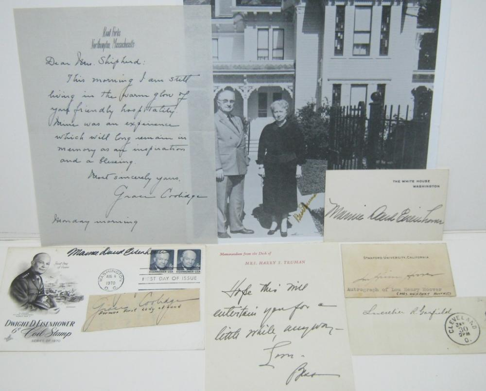 (FIRST LADIES.) Group of 8 items Signed, or Signed and Inscribed, by wives of 19th- and 20th-century presidents.