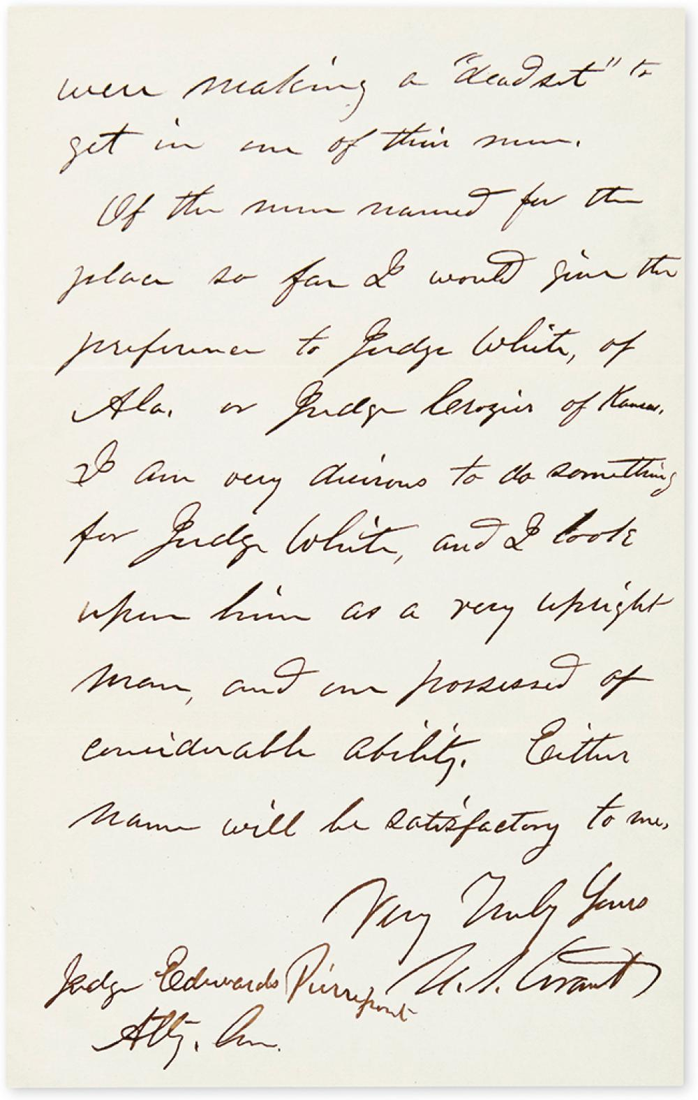 GRANT, ULYSSES S. Autograph Letter Signed,
