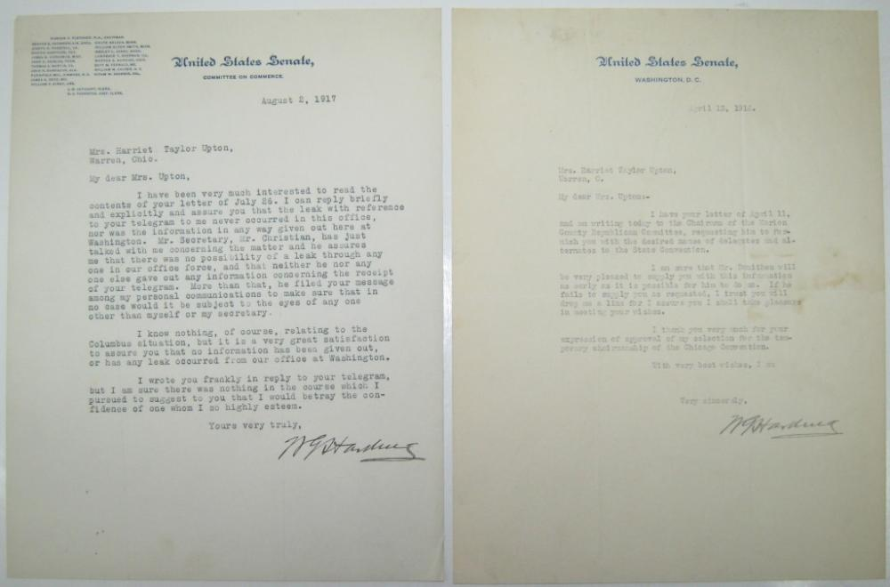 HARDING, WARREN G. Two Typed Letters Signed,